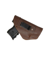 New Brown Leather Inside the Waistband Gun Holster for Compact Sub-Compact 9mm 40 45 Pistols with LASER (#68-22BRL)
