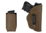 New Olive Drab Leather Inside the Waistband Gun Holster + Single Magazine Pouch for Compact Sub-Compact 9mm 40 45 Pistols with LASER (#C68-22ODL)