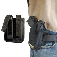 New 6 Position Ambidextrous Concealment Gun Pancake Holster + Double Magazine Pouch Combo for Compact 9mm 40 45 with LASER (#C34L)