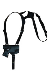 New Black Leather Horizontal Cross Harness Shoulder Gun Holster for Compact 9mm 40 45 Pistols with LASER (22HORBLL)