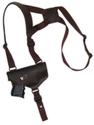 New Brown Leather Horizontal Cross Harness Shoulder Gun Holster for Compact 9mm 40 45 Pistols with LASER (22HORBRL)