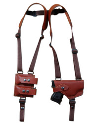 New Barsony Burgundy Leather Shoulder Holster with Double Magazine Pouch for Compact Sub-Compact 9mm .40 .45 Pistols with LASER (#2200BUL)