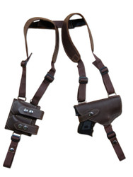 New Barsony Brown Leather Horizontal Gun Shoulder Holster with Double Magazine Pouch for Compact Sub-Compact 9mm .40 .45 Pistols with LASER (#2200BRL)