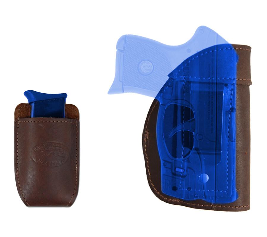 New Barsony Tan Leather Gun Pocket Holster Mini .22 .25 .32 .380 w// LASER