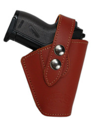 New Burgundy Leather OWB Belt Gun Holster for Mini .22 .25 .32 .380 Pistols with LASER (#L10BU)