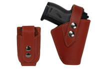 New Burgundy Leather OWB Belt Gun Holster + Single Magazine Pouch for Mini .22 .25 .32 .380 Pistols with LASER (#LC10BU)