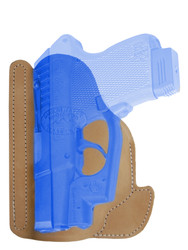 New Natural Tan Leather Concealment Pocket Gun Holster for Mini/Pocket .22 .25 .380 .32 Pistols with LASER (#LPO49NT)
