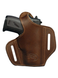 New Brown Leather Pancake Gun Holster for Mini/Pocket .22 .25 .32 .380 Pistols with LASER (#L57sBR)