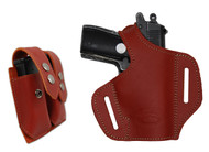 New Burgundy Leather Pancake Gun Holster + Magazine Pouch for Mini/Pocket .22 .25 .32 .380 Pistols with LASER (#LC57sBU)