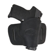 New Black Leather Belt Quick Slide Gun Holster for Small .380 Ultra Compact 9mm .40 .45 Pistols with LASER (#L108SCBL)