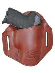 New Burgundy Leather Pancake Belt Slide Gun Holster for .380 Ultra Compact 9mm .40 .45 Pistols with LASER (#L222/3BU)