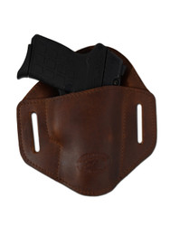New Brown Leather Pancake Belt Slide Gun Holster for .380 Ultra Compact 9mm .40 .45 Pistols with LASER (#L222/3BR)