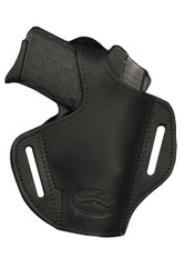 New Black Leather Pancake Gun Holster for Small .380, Ultra Compact 9mm .40 .45 with LASER (#L57BL)