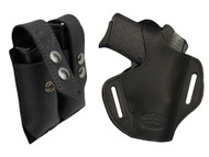 New Black Leather Pancake Gun Holster + Magazine Pouch for Small .380, Ultra Compact 9mm .40 .45 with LASER (#LC57BL)