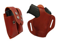 New Burgundy Leather Pancake Gun Holster + Magazine Pouch for Small .380, Ultra Compact 9mm .40 .45 with LASER (#LC57BU)
