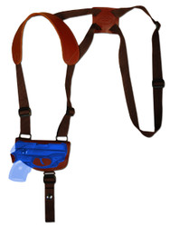 New Burgundy Leather Horizontal Cross Harness Shoulder Gun Holster for .380 Ultra Compact 9mm .40 .45 Pistols with LASER (#L42HORBU)