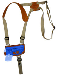 New Saddle Tan Leather Horizontal Cross Harness Shoulder Gun Holster for .380 Ultra Compact 9mm .40 .45 Pistols with LASER (#L42HORST)