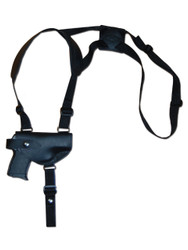 New Black Leather Horizontal Cross Harness Shoulder Gun Holster for 380 Ultra Compact 9mm 40 45 Pistols (#13HORBL)