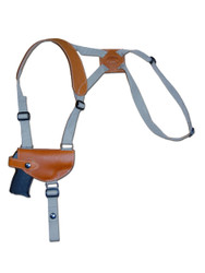 New Saddle Tan Leather Horizontal Cross Harness Shoulder Gun Holster for .380 Ultra Compact 9mm .40 .45 Pistols (#13HORST)