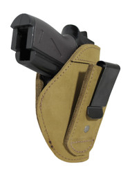 New Olive Drab Leather Tuckable IWB Holster for Mini/Pocket .22 .25 .380 Pistols (TU68-4sOD)