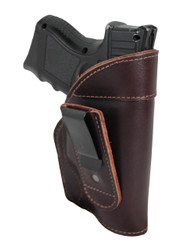 New Burgundy Leather Tuckable IWB Holster for Compact Sub-Compact 9mm .40 .45 Pistols (TU68-22BU)