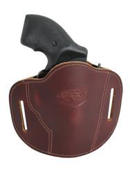 """New Burgundy Leather Pancake Belt Slide Gun Holster for 2"""" Snub Nose Revolvers (#56BU)"""