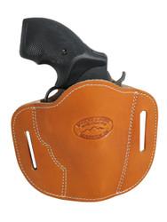 "New Saddle Tan Leather Pancake Belt Slide Gun Holster for 2"" Snub Nose Revolvers (#56ST)"