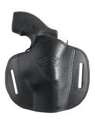 """New Black Leather Pancake Belt Slide Gun Holster for 2"""" Snub Nose Revolvers (#56BL)"""