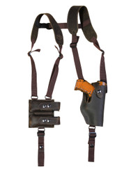 New Brown Leather Vertical Shoulder Holster with Double Magazine Pouch for Compact 9mm 40 45 (#2200VERBR)