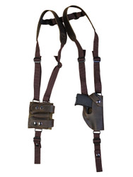New Brown Leather Vertical Shoulder Holster with Double Magazine Pouch for 380 Ultra Compact 9mm 40 45 (#4200VERBR)
