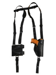 New Black Leather Vertical Shoulder Holster with Double Magazine Pouch for Compact 9mm 40 45 (#2200VERBL)