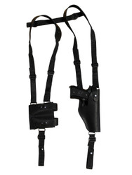 New Black Leather Vertical Shoulder Holster with Double Magazine Pouch for Full Size 9mm 40 45 (#3200VERBL)