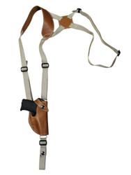 New Saddle Tan Leather Vertical Shoulder Holster for 380 Ultra Compact 9mm 40 45 Pistols (#42VERST)
