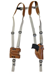 New Saddle Tan Leather Vertical Shoulder Holster with Double Magazine Pouch for 380 Ultra Compact 9mm 40 45 (#4200VERST)