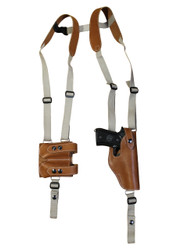 New Saddle Tan Leather Vertical Shoulder Holster with Double Magazine Pouch for Full Size 9mm 40 45 (#3200VERST)