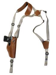New Saddle Tan Leather Vertical Shoulder Holster for Full Size 9mm 40 45 Pistols (#32VERST)