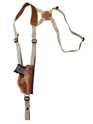 New Saddle Tan Leather Vertical Shoulder Holster for Compact 9mm 40 45 Pistols (#22VERST)