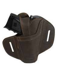 New Ambidextrous Brown Leather Pancake Holster for Compact Sub-Compact 9mm 40 45 Pistols (#34BR)