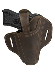 New Ambidextrous Brown Leather Pancake Holster for Full Size 9mm 40 45 Pistols  (#33BR)