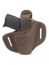 New Ambidextrous Brown Leather Pancake Holster 380, Ultra Compact 9mm 40 45 (#34-1BR)