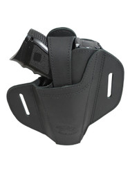 New Ambidextrous Black Leather Pancake Holster for Compact Sub-Compact 9mm 40 45 Pistols (#34BL)