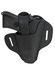 New Ambidextrous Black Leather Pancake Holster for Full Size 9mm 40 45 Pistols  (#33BL)