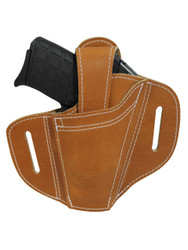 New Ambidextrous Tan Leather Pancake Holster 380, Ultra Compact 9mm 40 45 (#34-1ST)