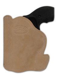"""New Natural Tan Leather Concealment Pocket Gun Holster for 2"""", Snub Nose .38 .357 Revolvers (#PO2NT)"""