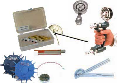 We carry hand therapy tools like hand grip dynamometers, monofilaments,  pinch gauges, goniometers and more.