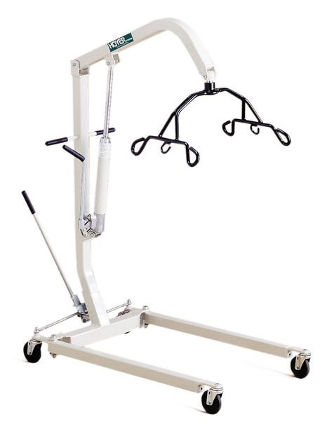 Hoyer patient lifts for assisting mobility for disabled patients.