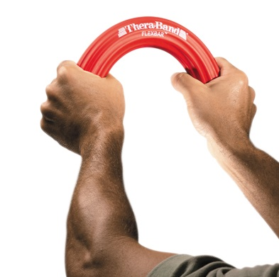 Tools for improving wrist and shoulder strength made by Thera Band, Jux-A-ciser, and Cando.