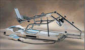 The machine features a leg carriage designed for automatic motion. It can be used for adult and pediatric patients.