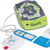 Zoll AED Plus Defibrillator utilizes 'Real CPR Help' (pictures, text, and voice prompts) to guide a responder through the entire process of providing assistance to a potential cardiac victim.