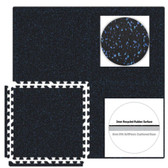 Black/Royal Blue SoftRubber 2ft Square 3/8-inch Thick Rubber Flooring Tiles